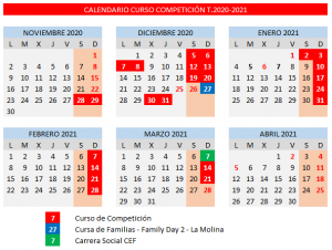 Calendario Competición Temporada 2020-2021
