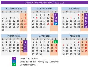 Calendario Entreno Temporada 2020-2021