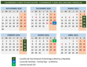 Calendario Tecnificación Temporada 2020-2021